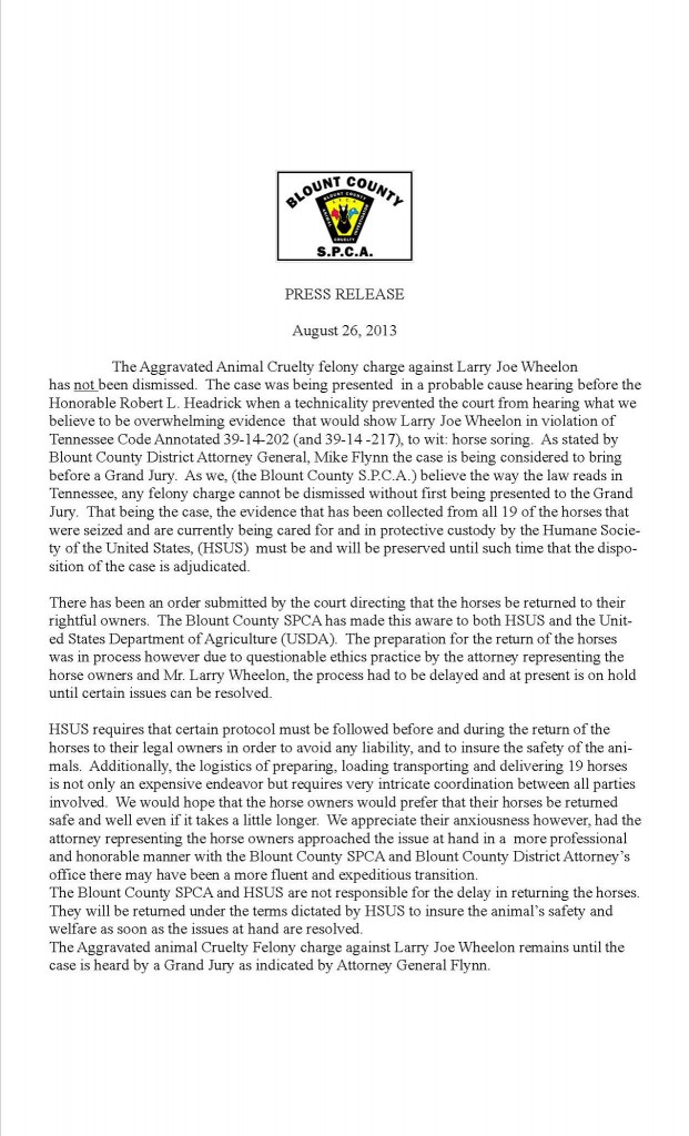 LINK - BLOUNT COUNTY SPCA PRESS RELEASE - AUGUST 26, 2013