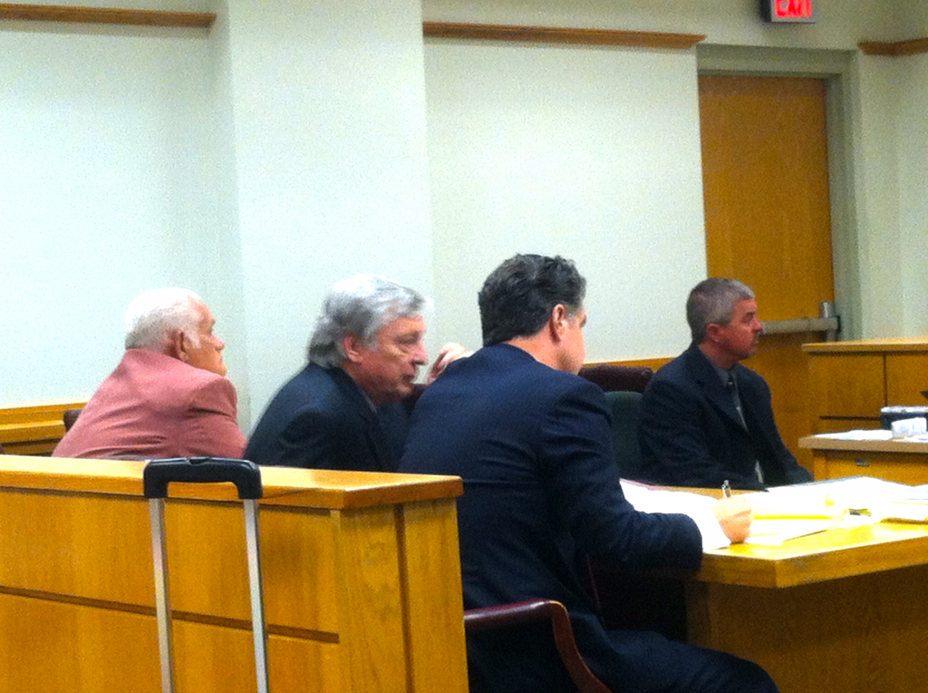 OWNER ATTORNEY JACK HEFFINGTON CONFERS WITH WHEELON DEFENSE COUNSEL ROBERT WHITE