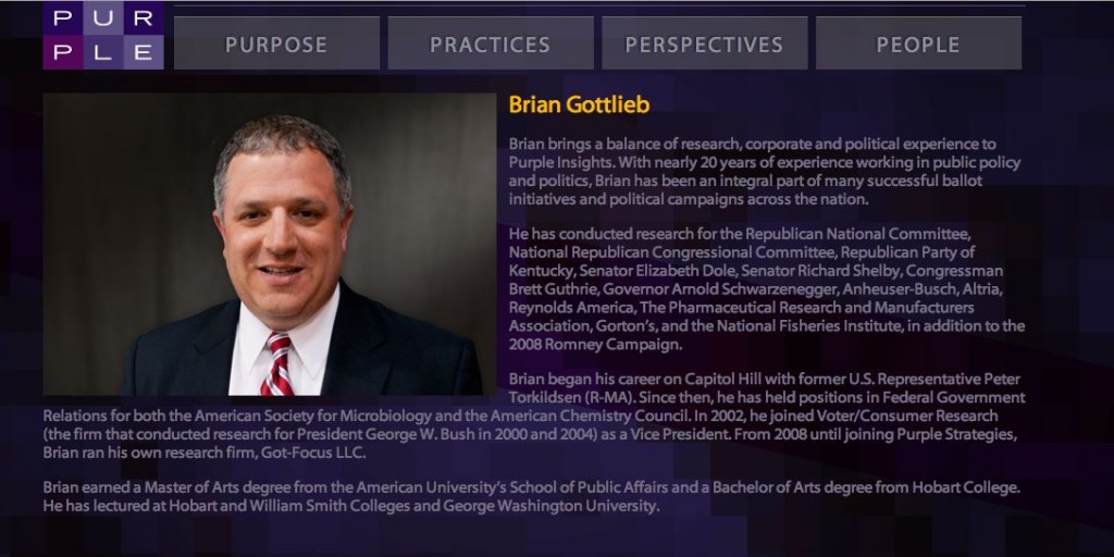 """INDEPENDENT CONSULTANT' - BRIAN GOTTLIEB,  PURPLE STRATEGIES GUY"
