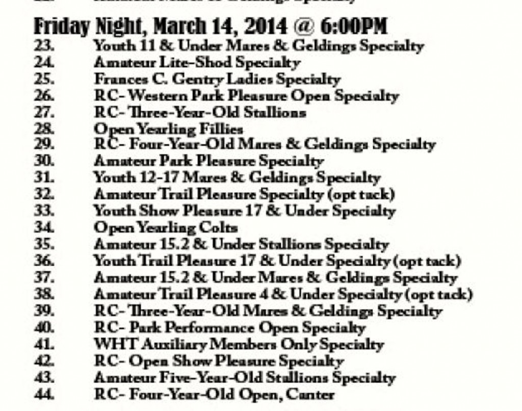 FRIDAY NIGHT CLASS SHEET - MARCH 14, 2O14