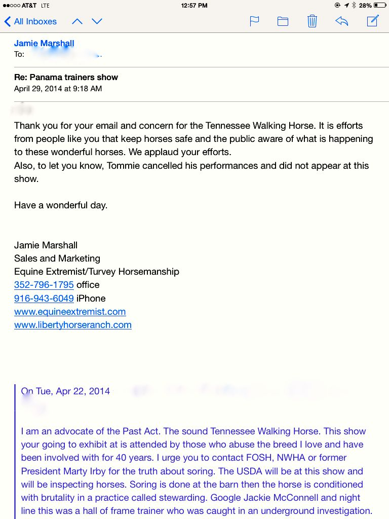 TOMMIE TURVEY EMAIL TO SOUND HORSE ADVOCATE
