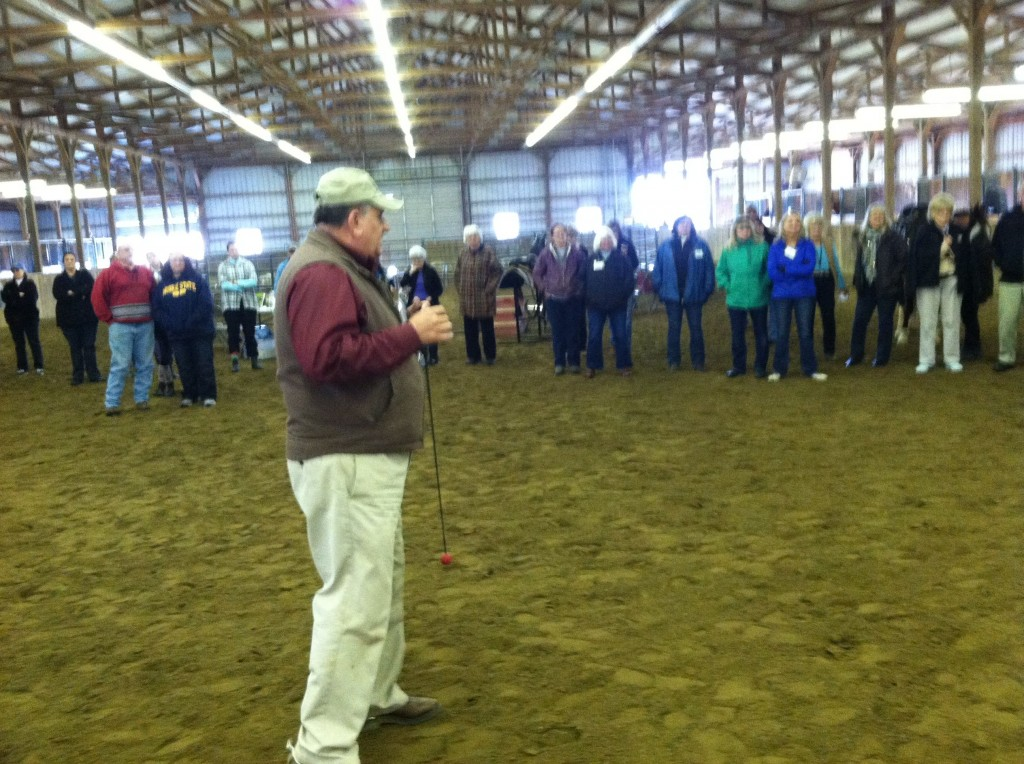 GARY LANE CONDUCTING CLINIC AT RISING GLORY FARM, PART OF SOUND HORSE CONFERENCE