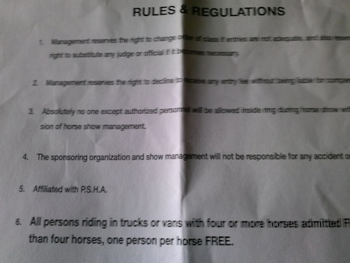DUNLAP TENNESSEE SHOW RULES