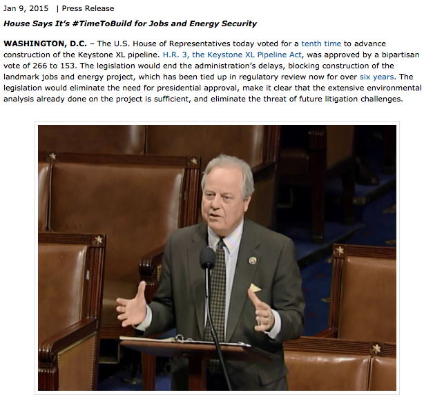 CONGRESSMAN ED WHITFIELD (R-KY) ON FLOOR OF U. S. HOUSE ON JANUARY 5, 2015