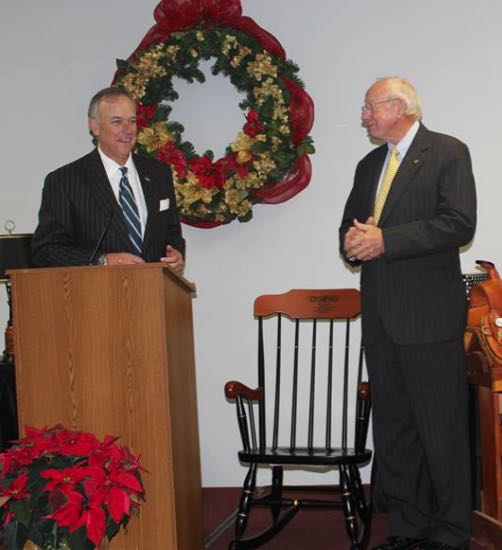 TWHBEA PRESIDENT STEVE SMITH AND SR. VP WALT CHISM WITH ROCKING CHAIR