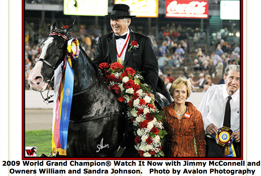 "WILLIAM B. JOHNSON, AND WIFE SANDRA WITH TRAINER JIMMY MCCONNELL UP ON 2009 WORLD GRAND CHAMPION ""WATCH IT NOW"""