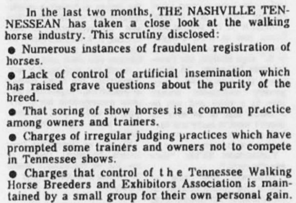 NASHVILLE TENNESSEAN NEWSPAPER 1969 - THE SHOCKING PLIGHT OF THE TENNESSEE WALKING HORSE BY WENDELL RAWLS, JR.