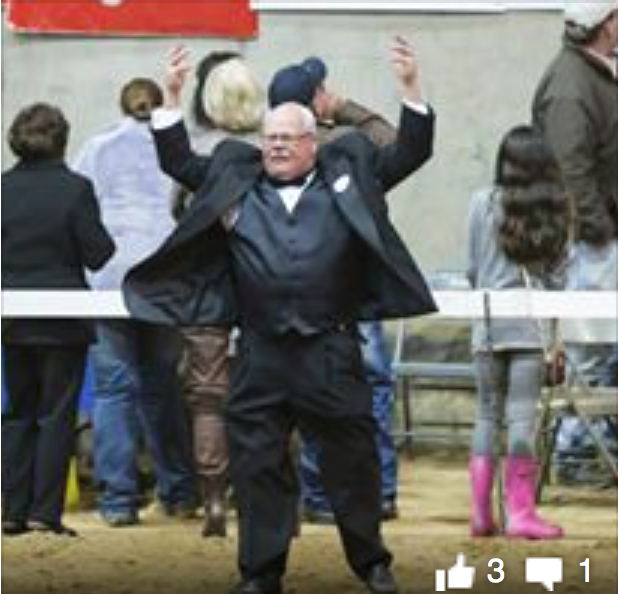 MISS. CHARITY HORSE SHOW OFFICIAL JAMES SILLS, JR INCITING CROWD