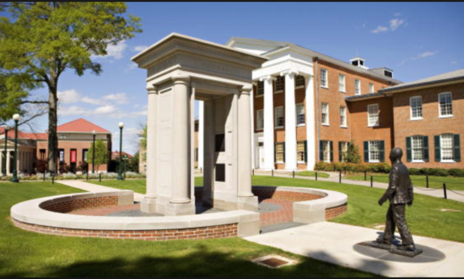 UNIVERSITY OF MISSISSIPPI LYCEUM BUILDING IN BACK GROUND AND JAMES MEREDITH STATUE