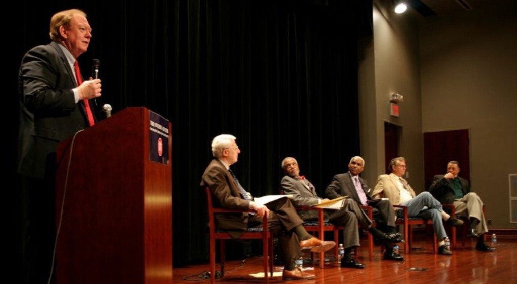 (left to right) Moderator Clant M. Seay,  Michael Horowitz (Yale Law Professor and Sr. Fellow-Hudson Institute);  John Brittain (Chief Counsel, Lawyers Committee For Civil Rights Under Law;                    A. C. Wharton (Mayor of Memphis); John Hailman (U.S. Attorney Chief of Criminal Division) and Reuben Anderson (First African American Ole Miss Law Student and First African American member of the Mississippi Supreme Court)