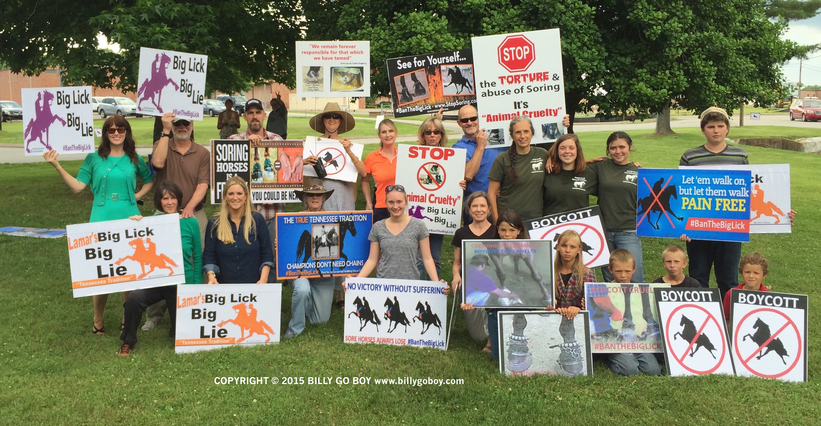 "PROUD AMERICANS EXERCISING THEIR CONSTITUTIONAL RIGHTS TO PROTEST ANIMAL CRUELTY OF ""BIG LICK"" TENNESSEE WALKING HORSES"