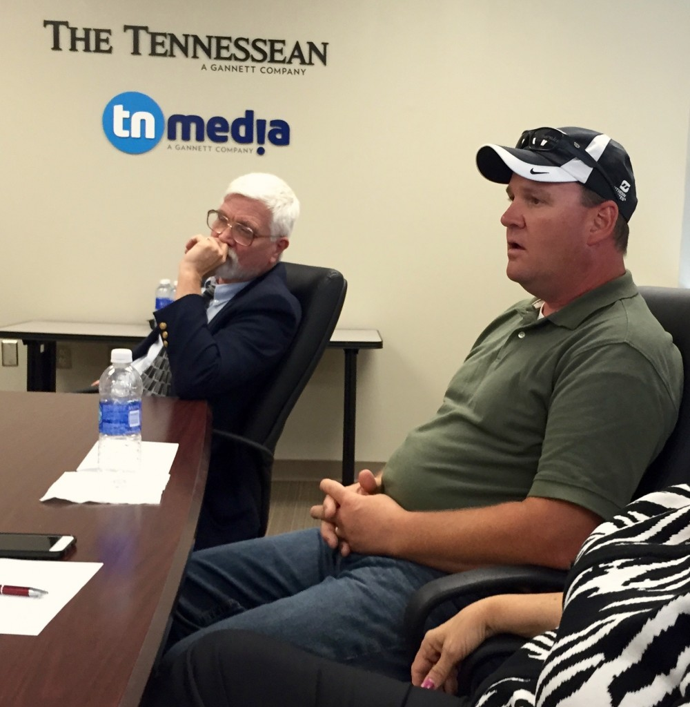 JOHN HAFFNER, DVM AND DEE DEE MILLER, PRESIDENT WHOA (WALKING HORSE OWNERS ASSOCIATION) MEETING WITH THE TENNESSEAN EDITORS