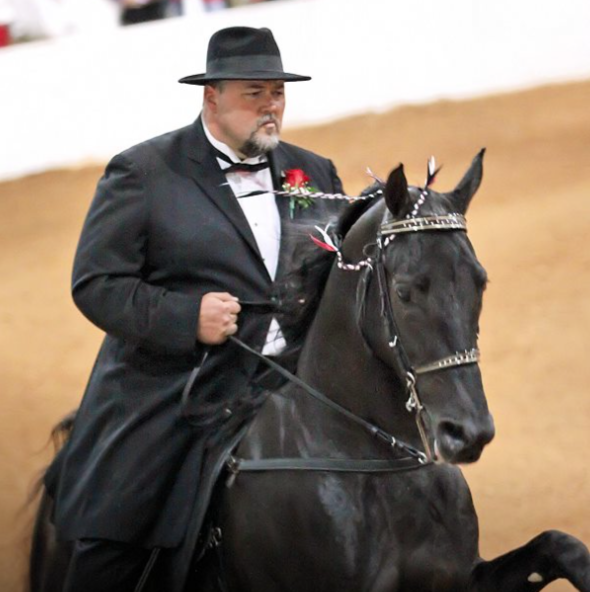 "MR. JAMIE LAWRENCE UP ON WORLD GRAND CHAMPION RACKING HORSE ""HIGH SWORD"""
