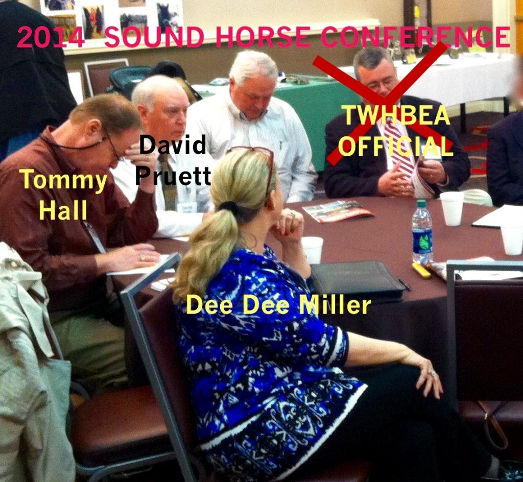 "Ms Dee Dee Miller, Mr.Tommy Hall, Mr. DAvid Pruett, Mr Kim Bennett (Big Lick Trainer) and Mr.David Williams (TWHBEA ""Big Lick"" Supporter who resigned from WHOA Board when AHC kicked out TWHBEA and approved WHOA)"