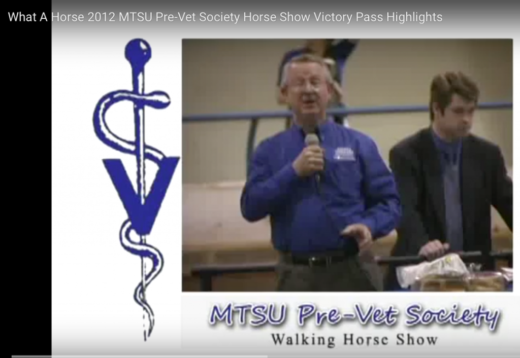 Dr. Warren Gill, MTSU Director of Agribusiness and Agriscience Department giving welcoming remarks at Big Lick MTSU Pre-Vet Society Horse Show.