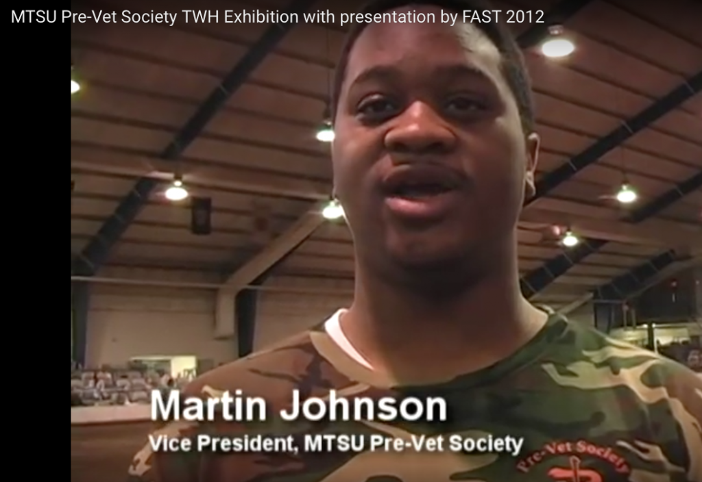 "MR. MARTIN JOHNSON, MTSU PRE-VET SOC MIETY VP AND 2013 ""MTSU WALKING FOR EDUCATION HORSE SHOW"" MANAGER"